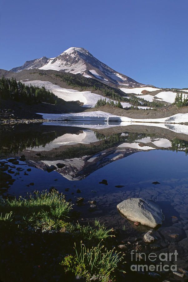 ✯ South Sister reflected in Camp Lake - Three Sisters Wilderness Area, Oregon Cascades