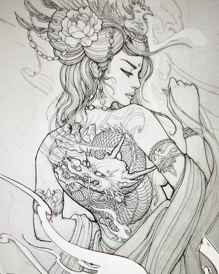 """7,225 Likes, 91 Comments - David Hoang (@davidhoangtattoo) on Instagram: """"Geisha design for client #sketch #illustration #drawing #asianink #asiantattoo #geisha #chronicink…"""""""