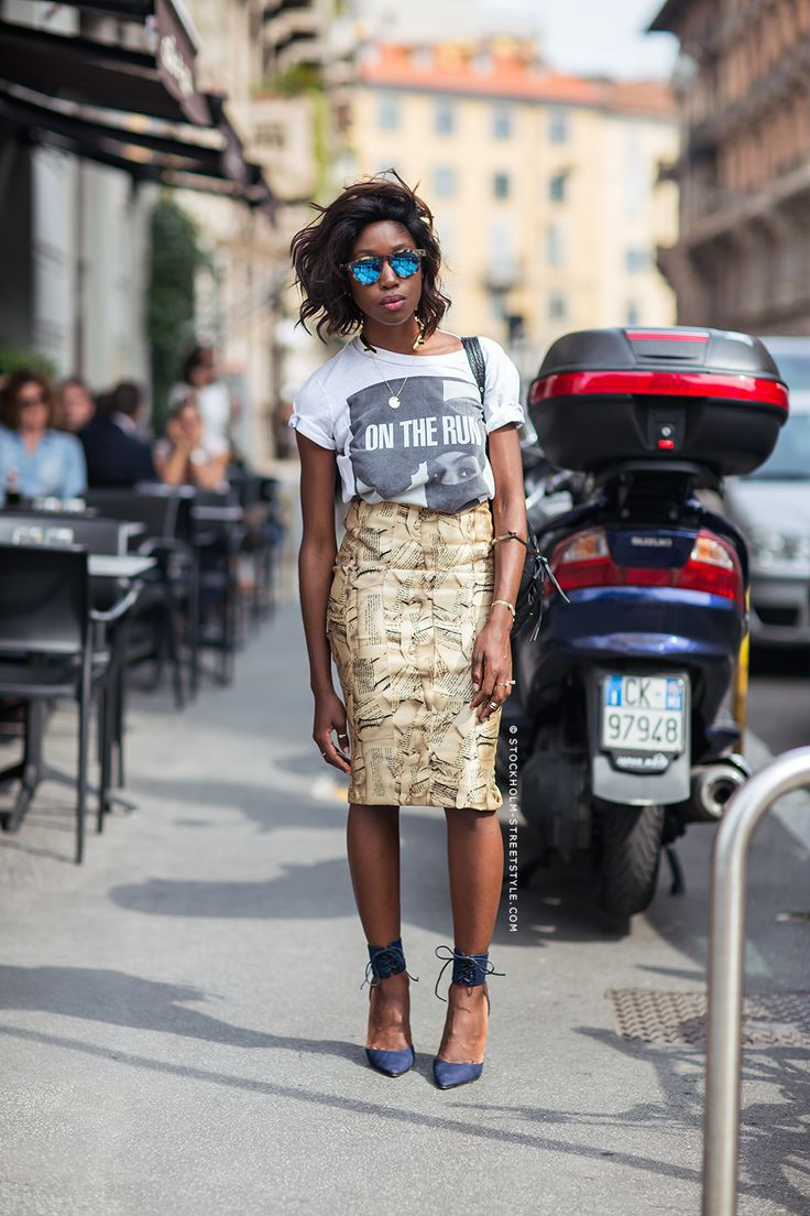 gold skirt, graphic t-shirt and lace up heels