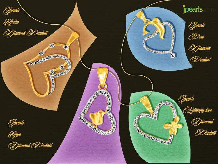 Diamonds and hearts will perfectly declare your love. #jpearls. Check out for more pendants at www.jpearls.com