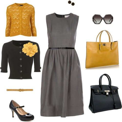 black, yellow, grayColors Combos, Fashion, Style, Clothing, Work Outfit, The Dresses, Yellow Flower, Mustard Yellow, Grey Dresses