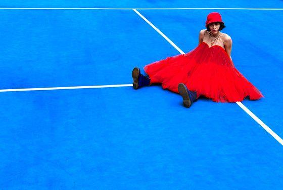 Daniela Nutz - Lanvin Puff Dress, Dr. Martens Metallic Boots - RED