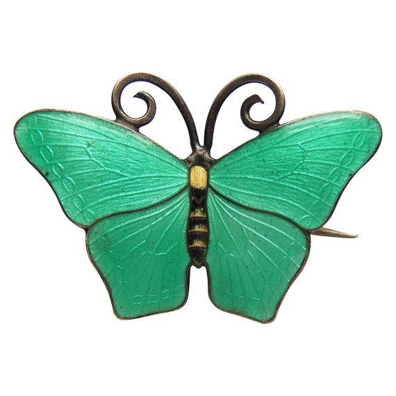 Green Guilloche Enamel Butterfly Brooch Kristian M Hestenes Norway Scandinavian | Amanda Jo