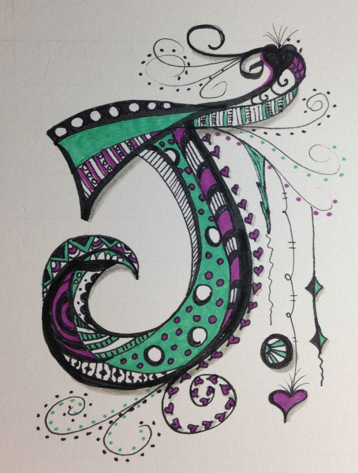 i didn u0026 39 t think i could do zen tangle letters   i started with a j for jeannie  now i am excited