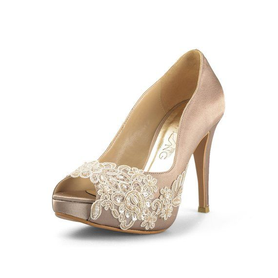 Miss Ace 2 Dark Champagne Wedding Heels Taupe Satin Bridal Heels