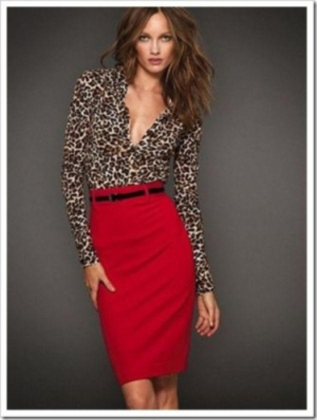 Leopard shirt, red skirt and patent leather belt. Inspiration Lane