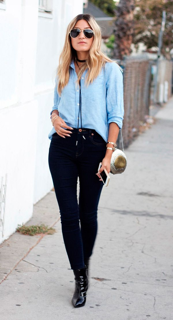 Street style camisa jeans.                                                                                                                                                                                 Mais