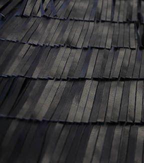 Suedecloth Pleather Fabric 52\u0022-Black Fringe,