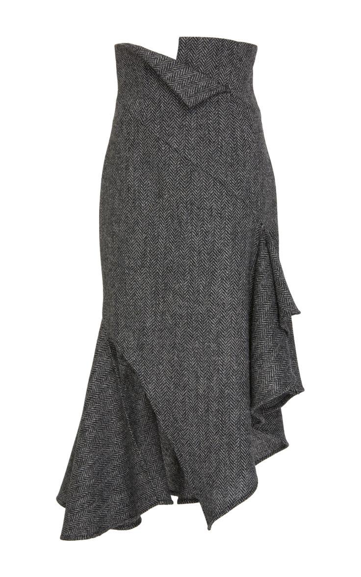 Herringbone Wool Skirt by MONSE Now Available on Moda Operandi