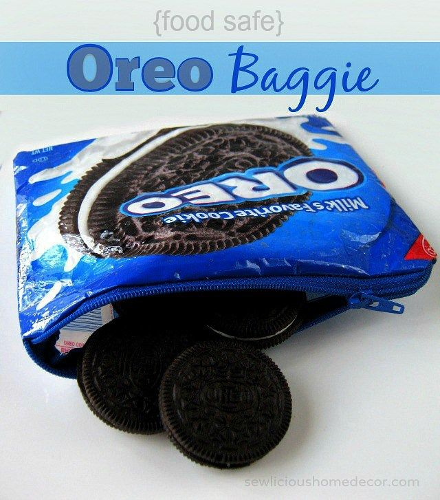 Food safe Oreo Baggie. Turn an Oreo cookie package into a zipper baggie you can use for snacks.  sewlicioushomedecor.com