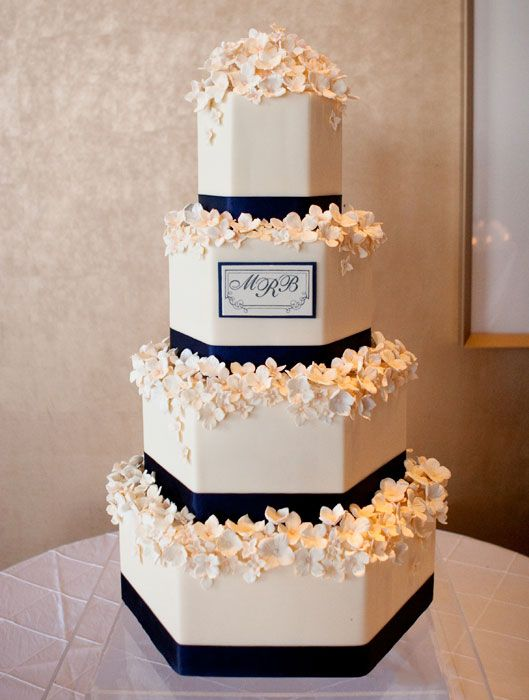 Monogram - This cake combined tailored navy ribbons with the couple's monogram recreated in frosting.  Hundreds of frosting Hydrangeas softened the edges for a more feminine and romantic look.  Photo Credit:  Erin Johnson Photography