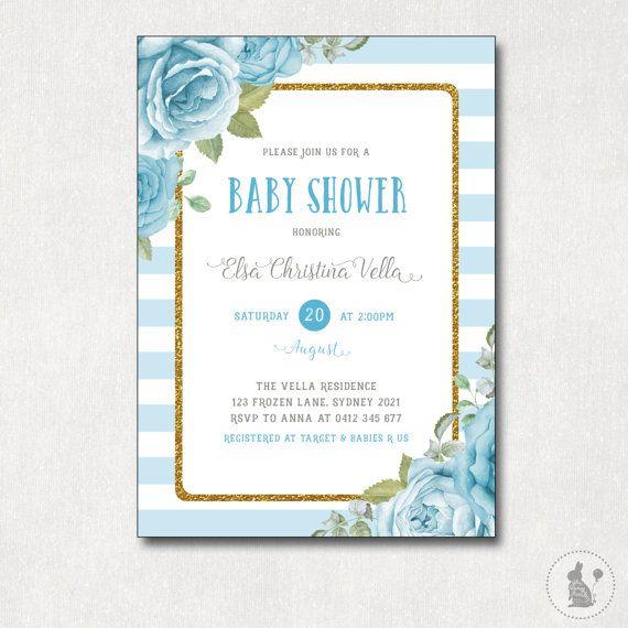 Floral Baby Dusche Einladung. Shabby Chic Von BlueBunnyPrintables