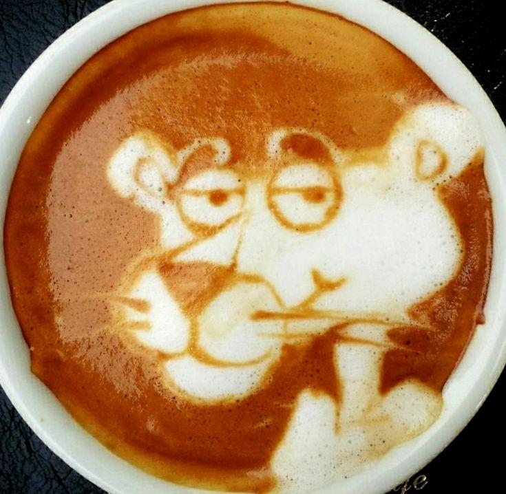 :*¨¨*:·. Coffee ♥ Art.·:*¨¨*: Pink Panther latte