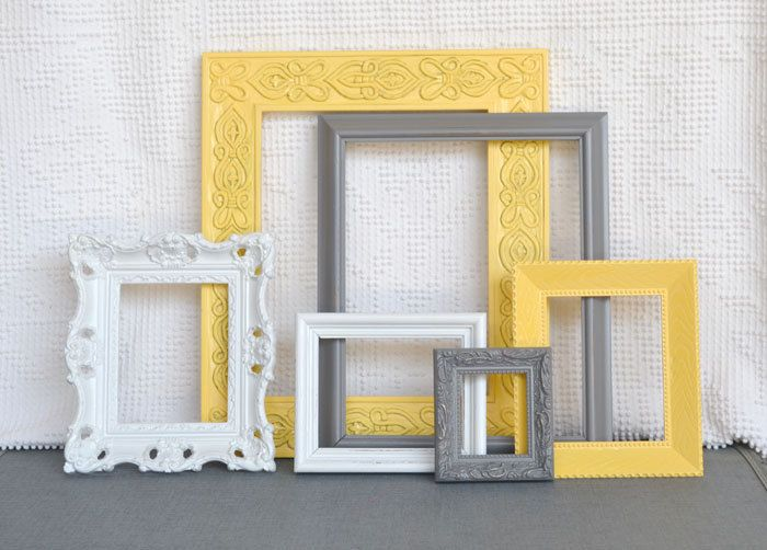 Yellow, Grey/Gray White Ornate Frames Set of 6- Upcycled Frames Modern  Bedroom Decor