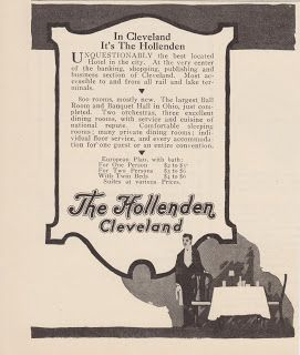 Free Vintage Clipart, Vintage Magazine Ads and Vintage Artwork Perfect for Home & Man-Cave Decor: Vintage 1917 The Hollenden Hotel Cleveland Ohio Original Print Ad Travel & Vacation