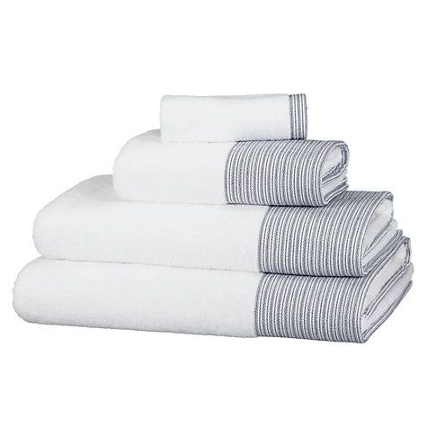 Buy John Lewis White Shop Blue Wash Towels, White Online at johnlewis.com