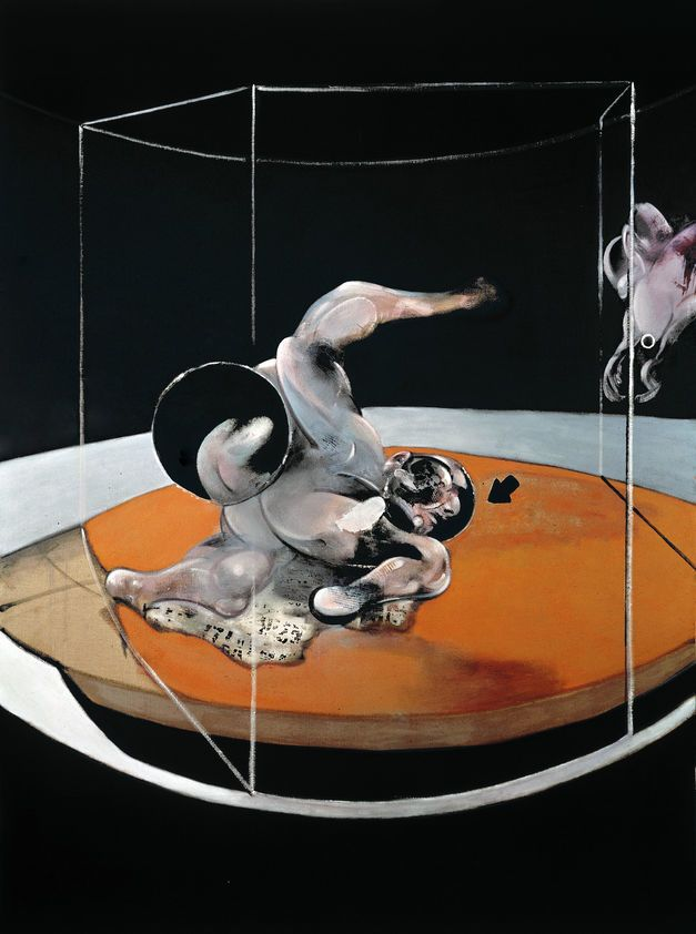 FRANCIS BACON Figure in Movement, 1976 Oil on canvas Dimensions 198 x 147.5 cm Collection Private Collection