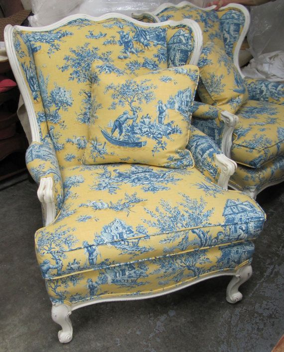 Pair Of Country French Chairs In Blue And Yellow Toile