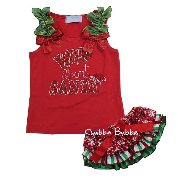 Christmas Baby Red Snow Green White Satin Ruffles Bloomers Rhinestone Wild about Santa Red Tank Top  $59.99  Worldwide shipping Layby Available info@chubbabubbaboutique.com #Christmasbloomersset #wildaboutsanta #chubbabubbaboutique