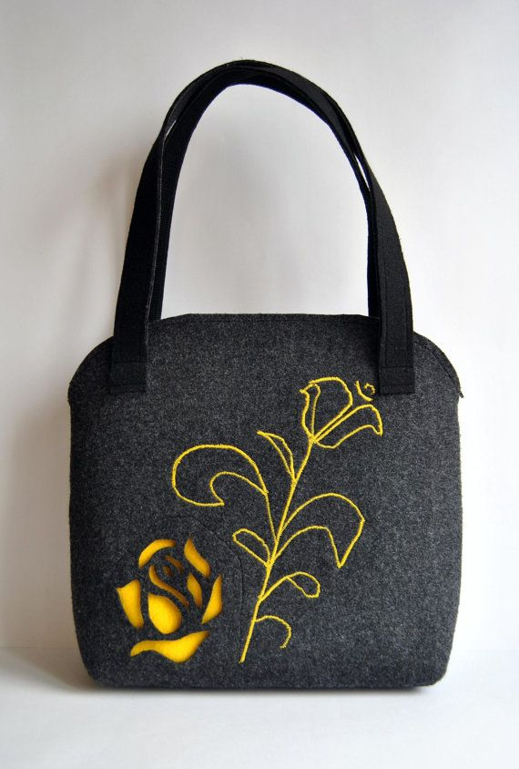 Felt Tote bag with yellow roses dark grey Color with by kmBaggies, $40.00