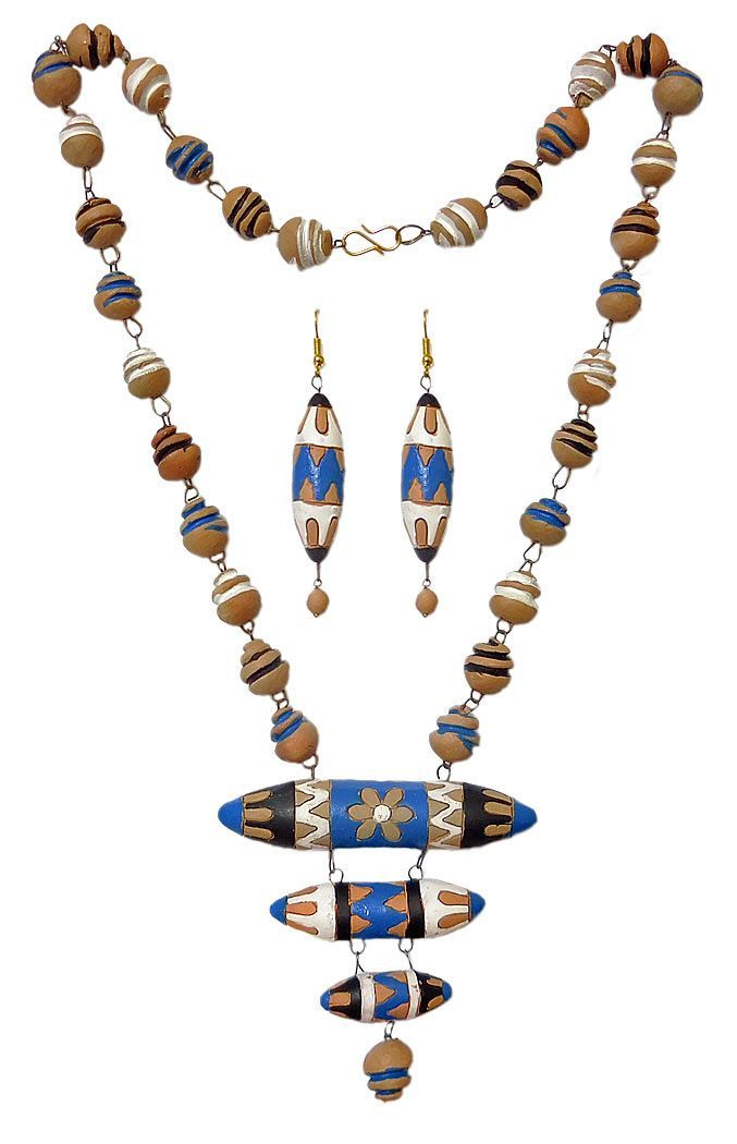 Hand Painted Terracotta Bead Necklace and Earrings (Terracotta)