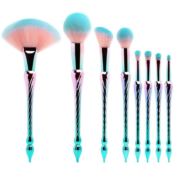 ae2ffabde 8 pc Royal Atlantic Unicorn Brush Set ($35) ❤ liked on Polyvore featuring beauty  products, makeup, makeup tools, makeup brushes, set of makeup brushes and  ...