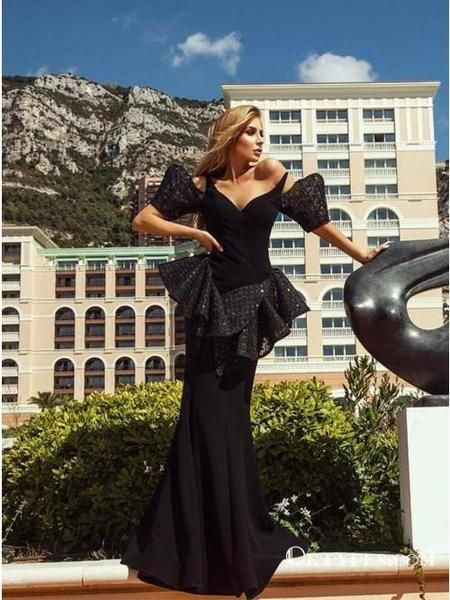 348e5219e0e Mermaid Off Shoulder Black Long Evening Prom Dresses with Ruffles, TYP1685