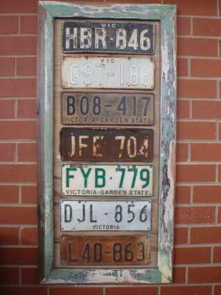 License plate wall hanging
