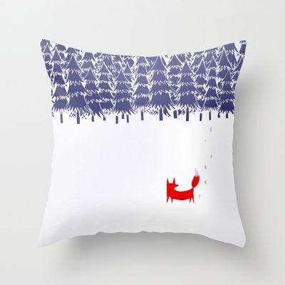 Alone in the forest Throw Pillow by Robert Farkas - $20.00