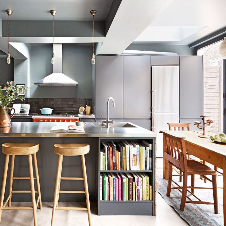 Modern-grey-open-plan-kitchen-with-lighting