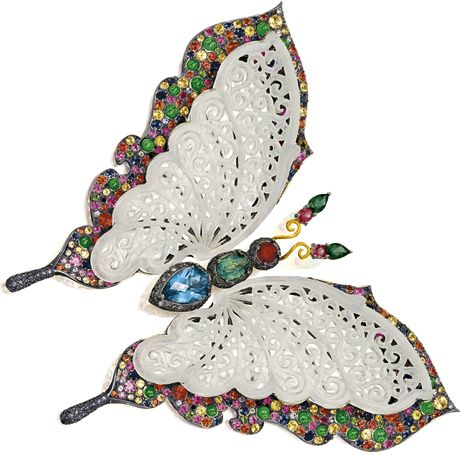 ICY JADEITE, JADEITE, COLOURED DIAMOND AND GEM-SET 'BUTTERFLY' BROOCH The intricately carved icy jadeite wings set on an elevated mount, enhanced by pavé-set circular-cut coloured sapphires and jadeite cabochons, to the thorax set with coloured topaz and citrine, bordered by pavé-set  brilliant-cut diamonds of brownish hue