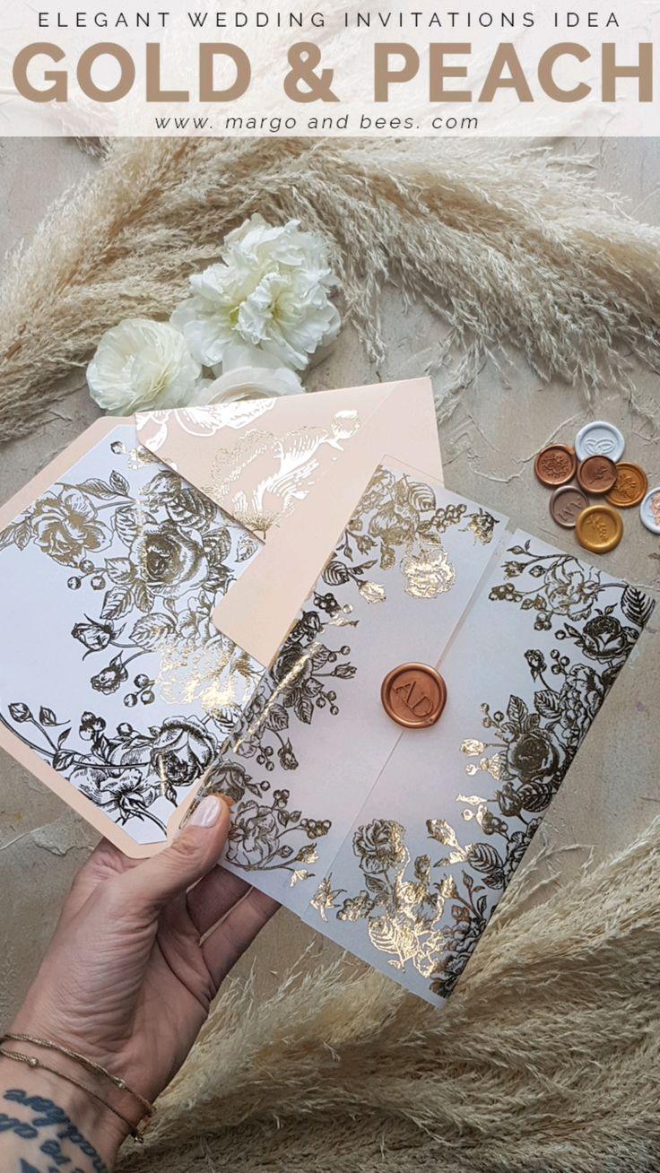 Acrylic Transparent Wedding Invitations Gold Vellum Roses