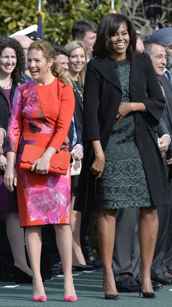 Michelle Obama and Sophie Gregoire-Trudeau laugh during