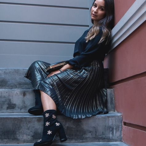 #followMI into Fashion has it blogger lifestyle in #MIGATO GW3020 block heel booties ►  bit.ly/GW3020-L14en and clutch ► bit.ly/IM0714-L21en