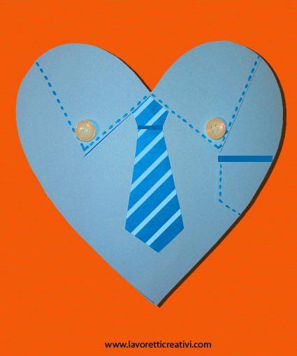 IDEA LAVORETTO PER LA FESTA DEL PAPA' Per la ricorrenza della Festa del papà del 19 marzo o per il suo compleanno è bello realizzare un biglietto d'auguri fatto da noi. Se uniamo il simbolo del cuo...