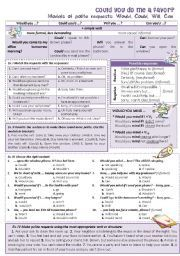 English worksheet: COULD YOU DO ME A FAVOR? Making polite requests
