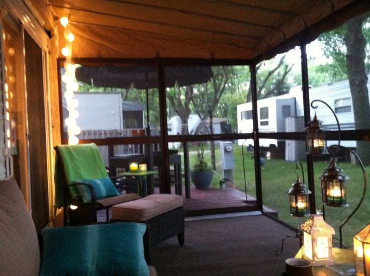 34 best travel trailer porches images on pinterest for Portico anteriore a trave aperta