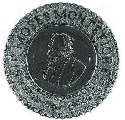 A commemorative glass plate of Sir Moses Montefiore, c,1900, Judaica