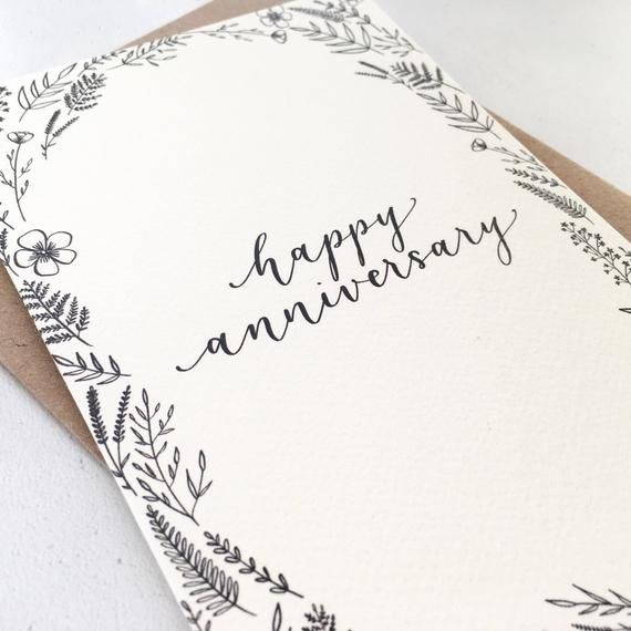 Happy Anniversary Card Originally Hand Lettered Modern Calligraphy Card Ref H1 Calligraphy Cards Happy Anniversary Lettering Happy Anniversary Cards