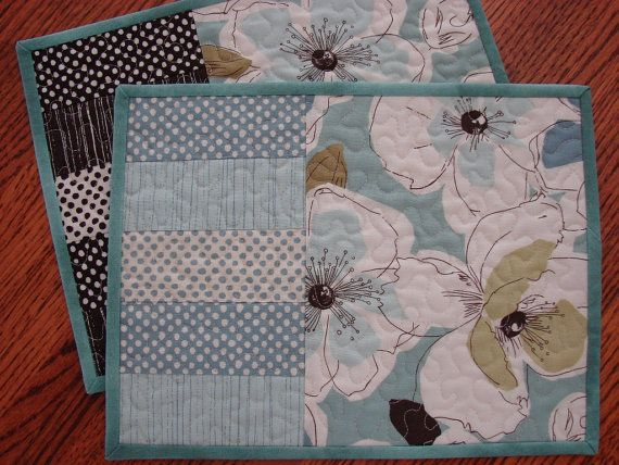 Quilted Mug Rug Snack Mat Candle Mat Pair in Brown and Blue Flowers