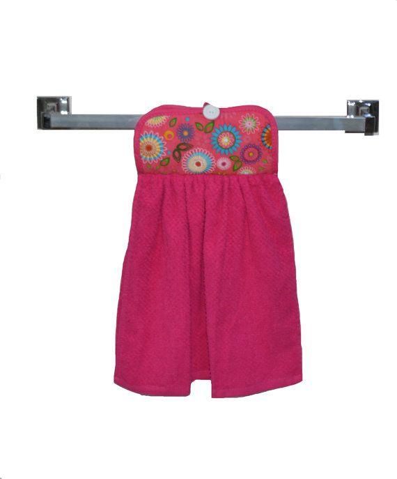 Kitchen Hand Towel Pink Hand Towel Button Closure by SuesAkornShop
