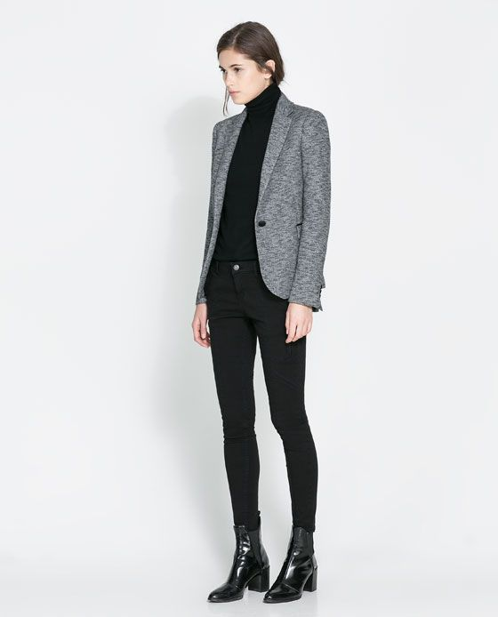 Image 1 of BLAZER WITH IMITATION LEATHER PIPING from Zara