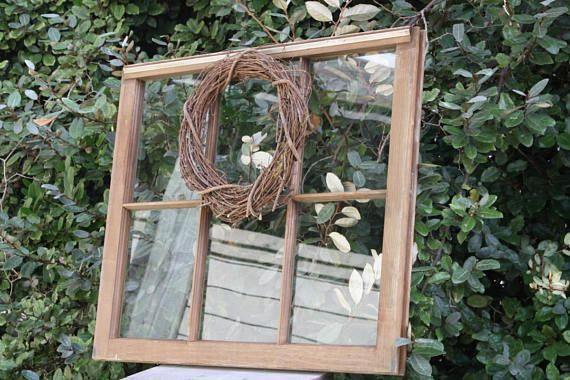 Rustic Vintage Wooden Window Frame with Glass / Salvaged #wood #window #wooden #salvaged #mantledecor #weddingprop