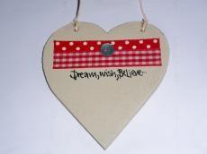 Dream, Wish, Believe. Wooden heart hanging ornament. #gift #cute