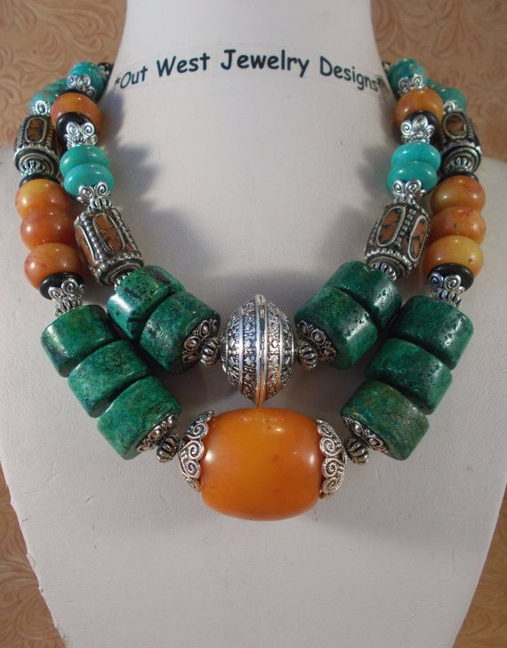 Two chunky strands of Chrysocolla with Copal Amber, Howlite turquoise & hand crafted Coral and Tibetan silver beads by Out West Jewelry Designs