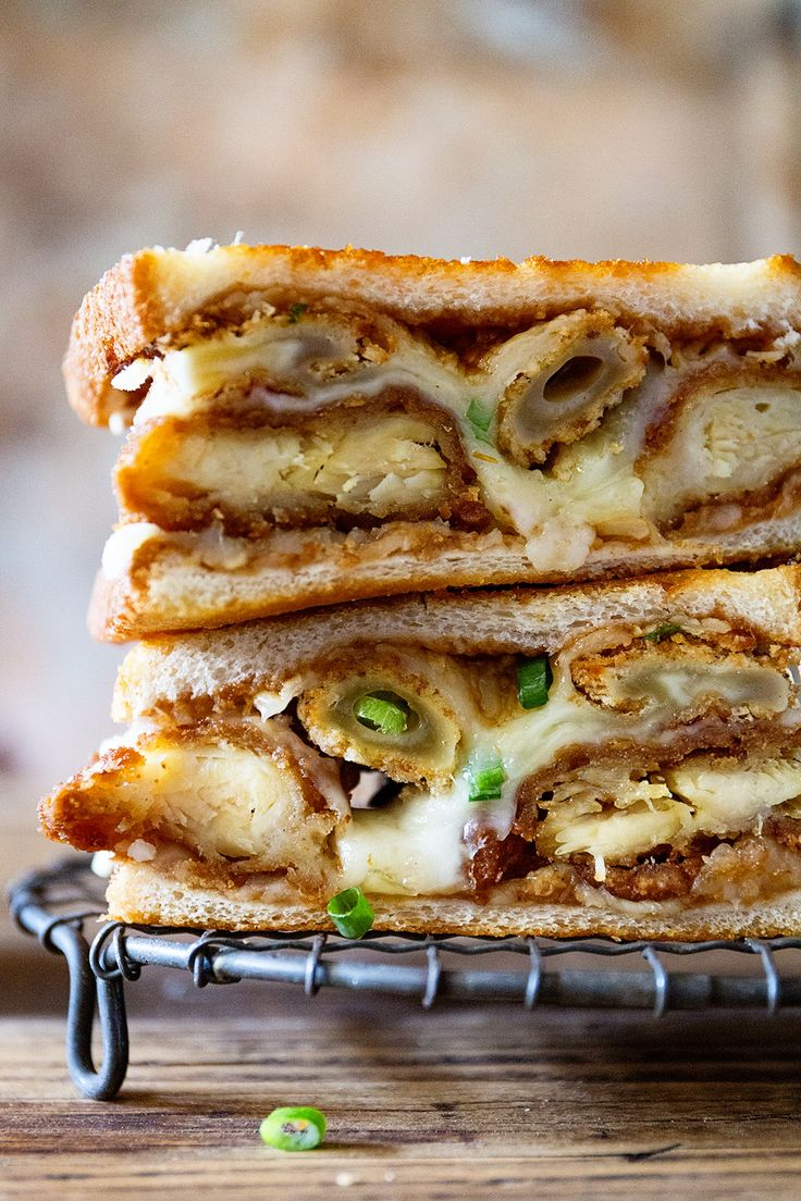 Ultimate Comfort Food Grilled Cheese Sandwich filled with Mozzarella Sticks + Chicken Tenders