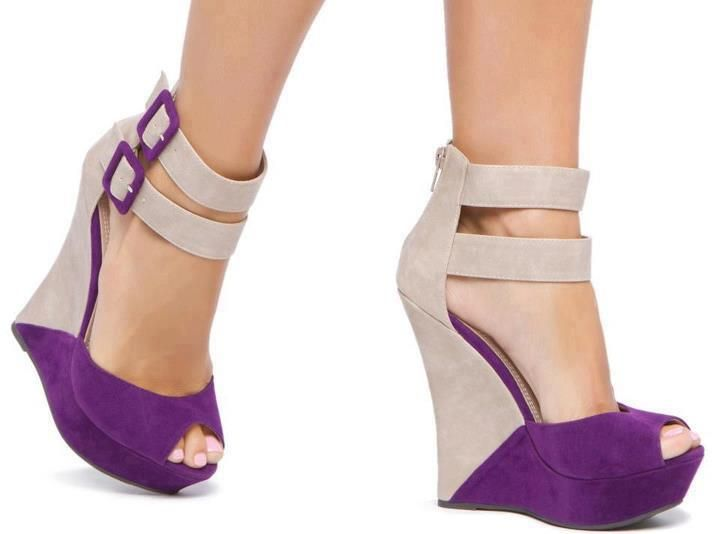 Nude and purple wedges. So beautiful