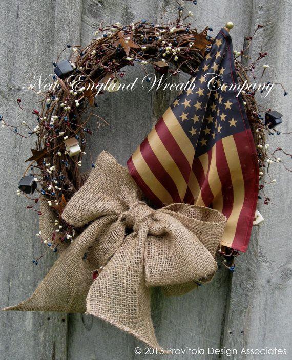 Americana Wreath Fall Wreath Rustic Decor by NewEnglandWreath