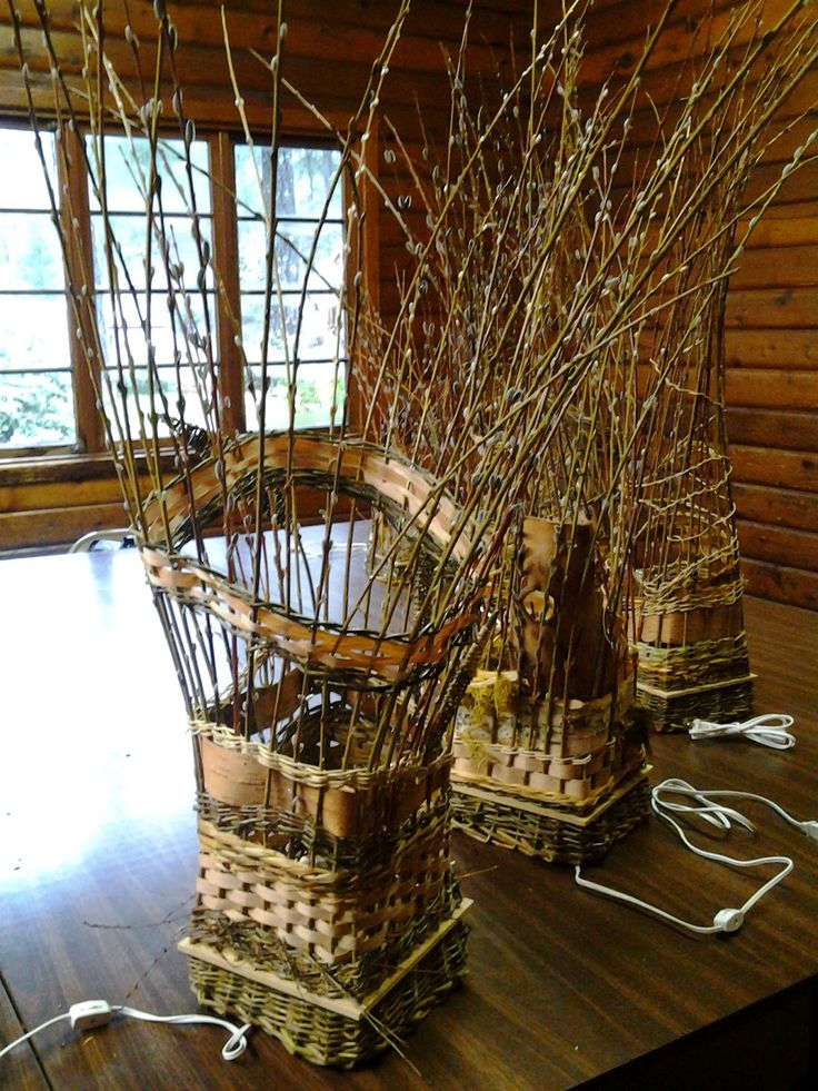 Woven pussy willow basket lights - these are seriously cool