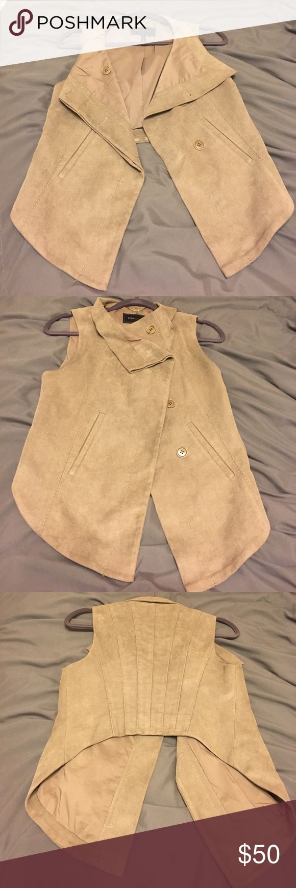 Bcbg MaxAzria vest Gently worn tan vest...92% polyester/8% spandex...faux suede BCBGMaxAzria Jackets & Coats Vests